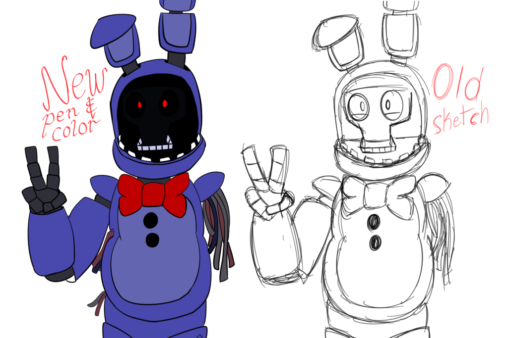 1024x683 Withered Bonnie, Drawing Over The Old By Fan Of Tailsdoll