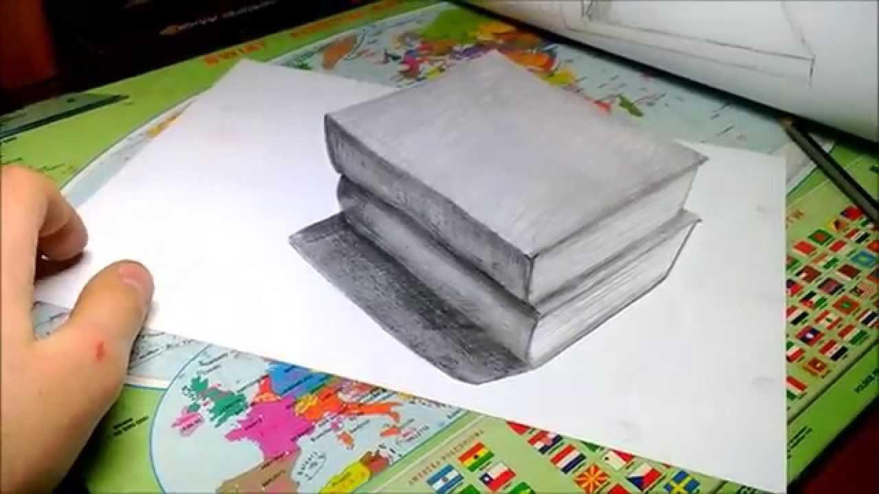 1280x720 Amazing Anamorphic 3d Illusion Books Drawing