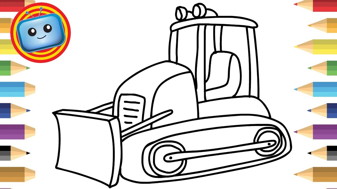 1280x720 How To Draw A Bulldozer Colouring Book Simple Drawing Game