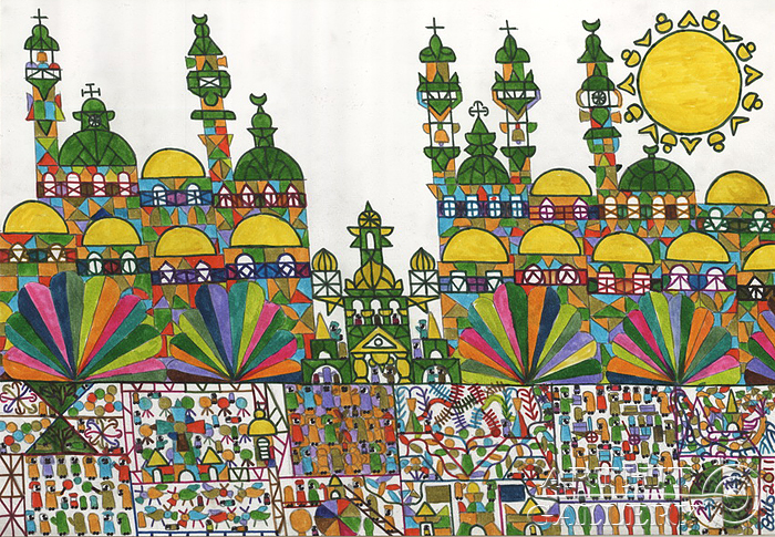 700x485 Folk Art Drawing. Naive Art. Book Fair In A City. Fattal Adib