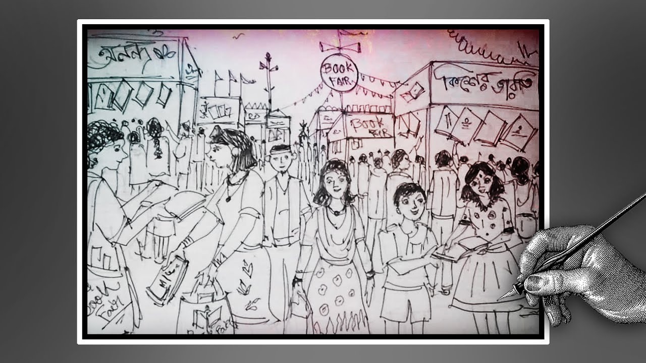 1280x720 How To Draw Kolkata Book Fair Book Fair Drowing With Ballpoint