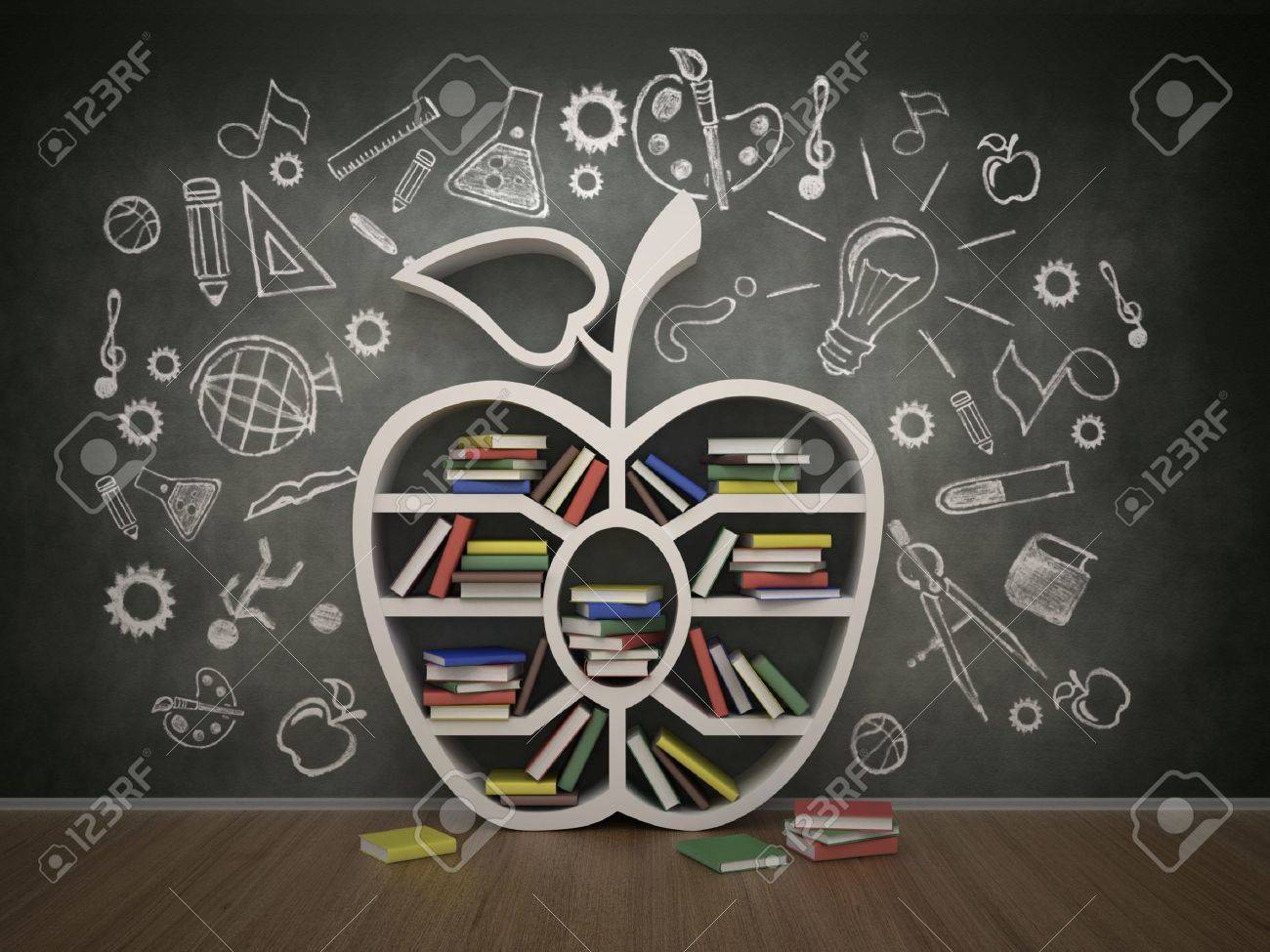 1300x975 Book Shelf In Form Of Apple And Drawing Concept, 3d Stock Photo