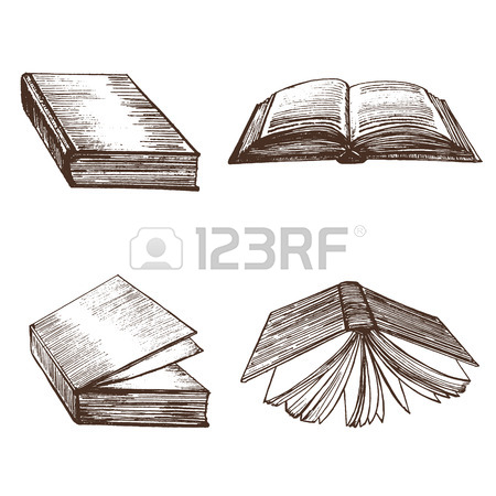 450x450 Book Stack Hand Draw Sketch Card. Vector Royalty Free Cliparts