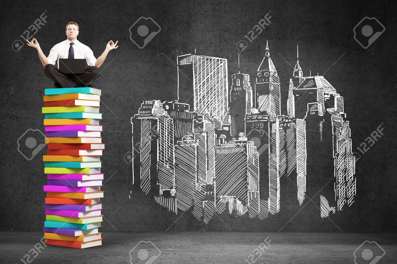 1300x866 Businessman Sitting Colorful Book Stack. Drawing City