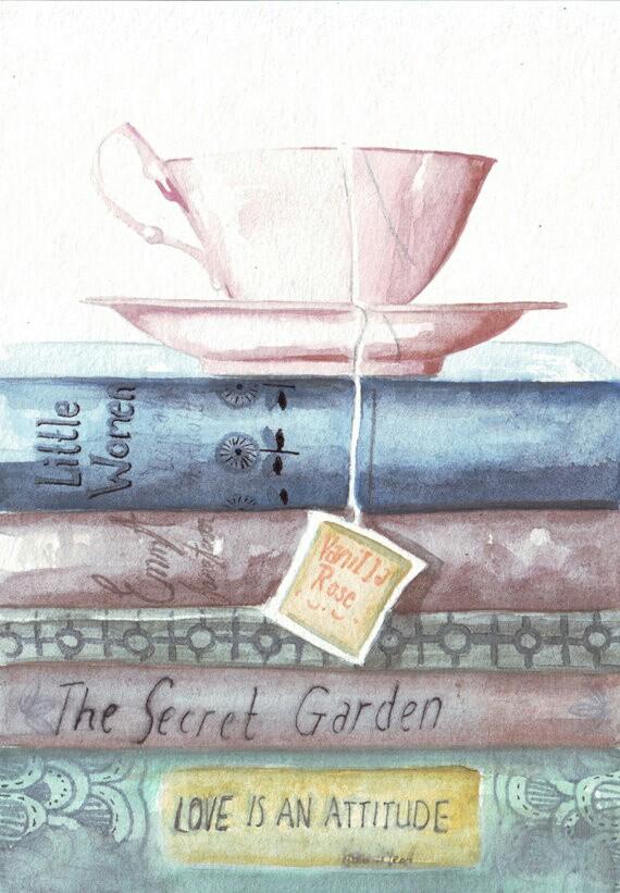 570x821 Teacup Book Stack Wallpaper Media Watercolor