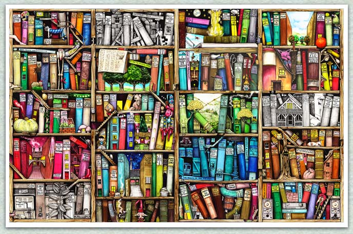688x457 Between The Covers Tc Tidbit We Love This Drawing Of A Bookshelf!