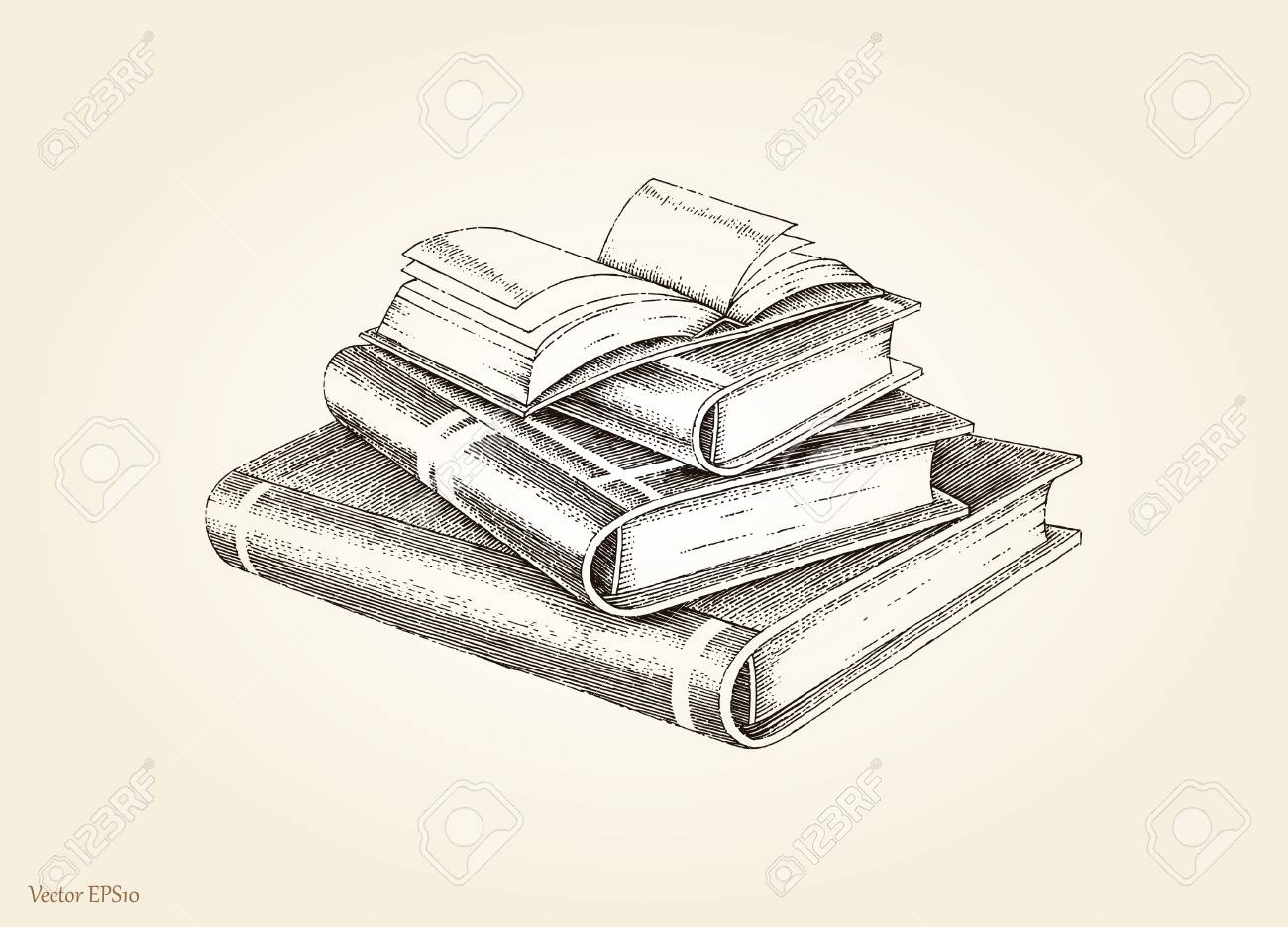 1300x936 Books Stack Hand Drawing Vintage Style Royalty Free Cliparts
