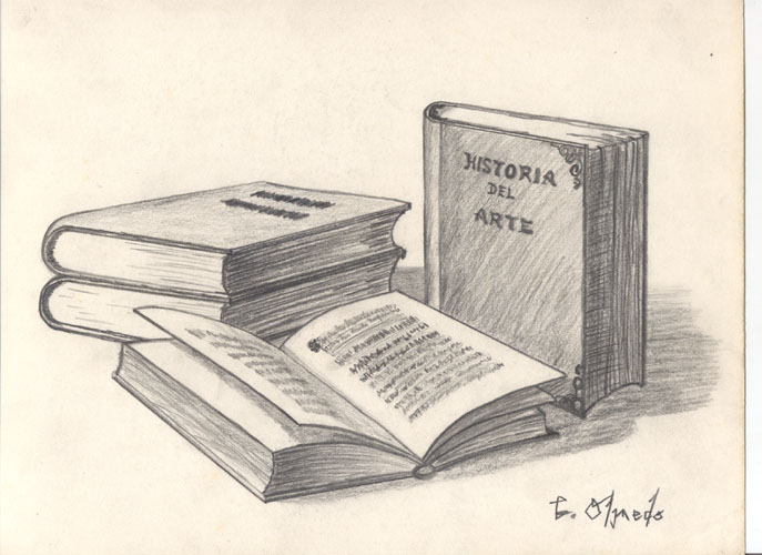 687x500 My Art Untitled (Books) Practice Drawing 1989 (Age 15)