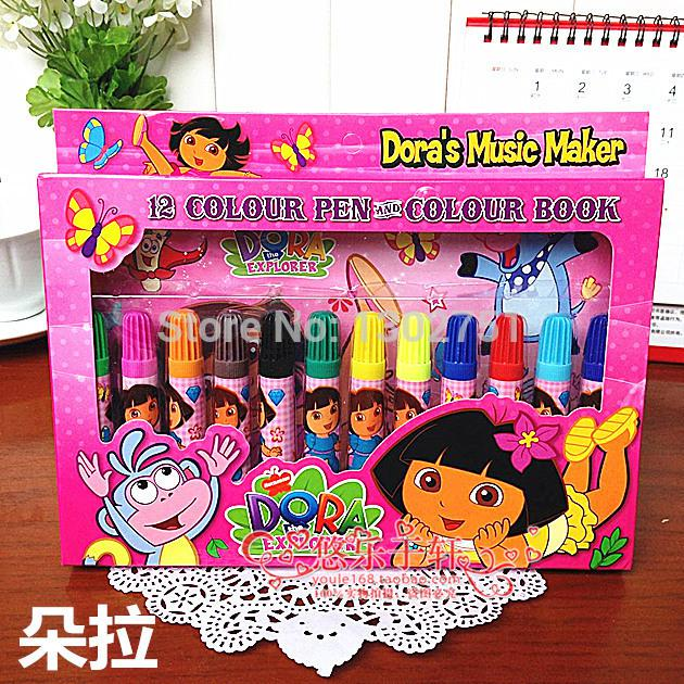 630x630 2018 Wholesale Hot Kids Dora Color Books And Pens Set Drawing Toys
