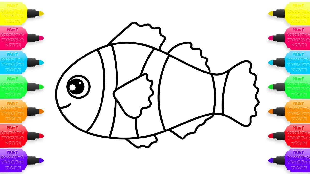 1280x720 Coloring Pages Colorful Clown Fish How To Draw Animals Drawing