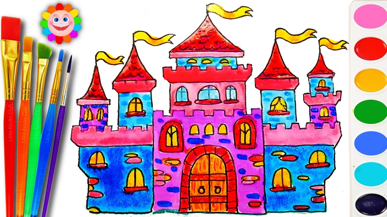 1280x720 How To Draw And Color A Castle House For Kids Coloring Book