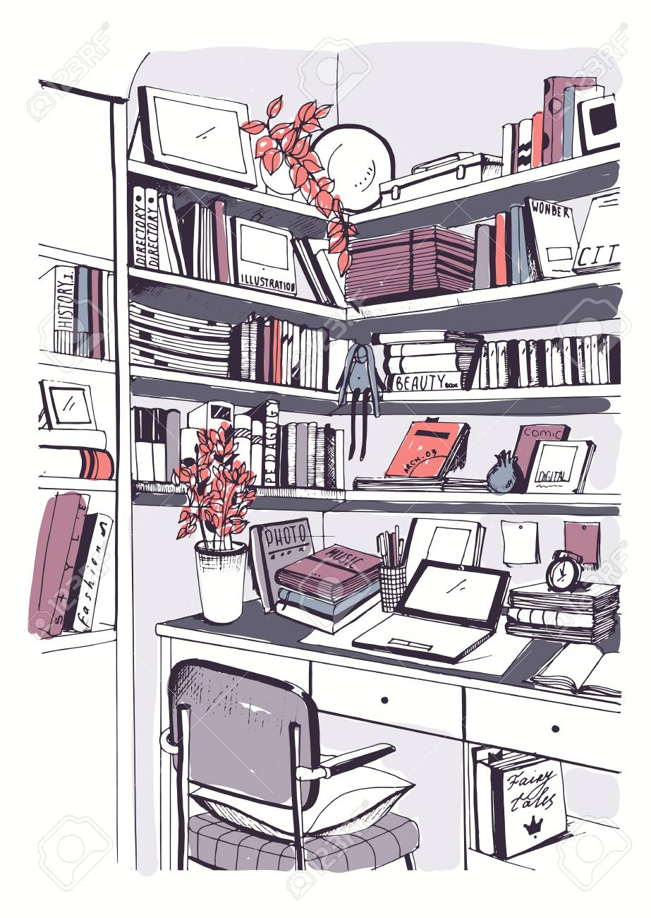 923x1300 Modern Interior Home Library, Bookshelves, Workplace Hand Drawn