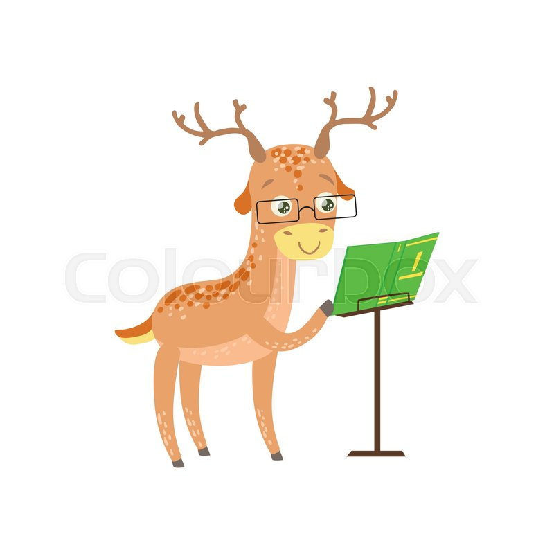 800x800 Deer Smiling Bookworm Zoo Character Wearing Glassesnd Reading