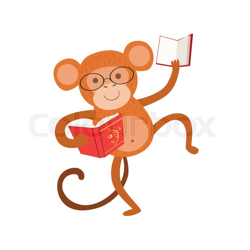 800x800 Monkey Smiling Bookworm Zoo Character Wearing Glasses And Reading