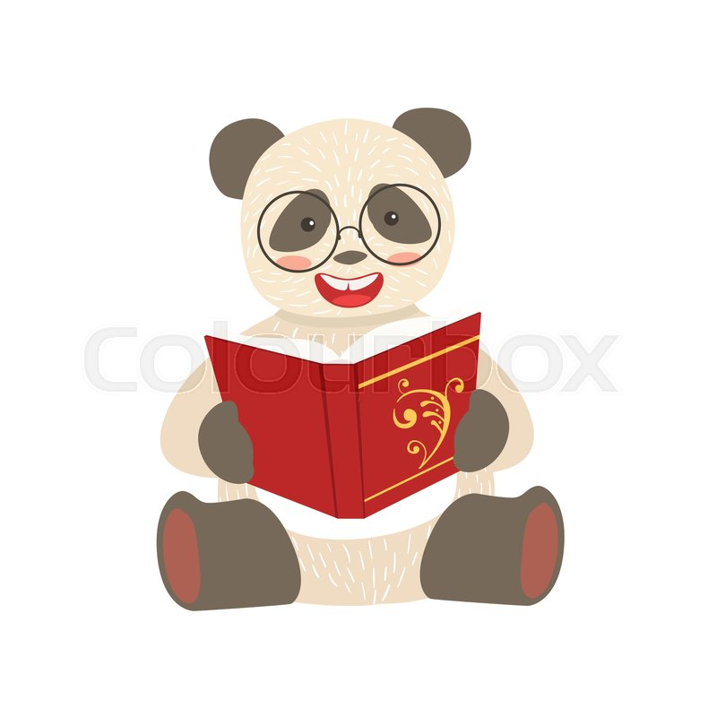 800x800 Panda Smiling Bookworm Zoo Character Wearing Glassesnd Reading