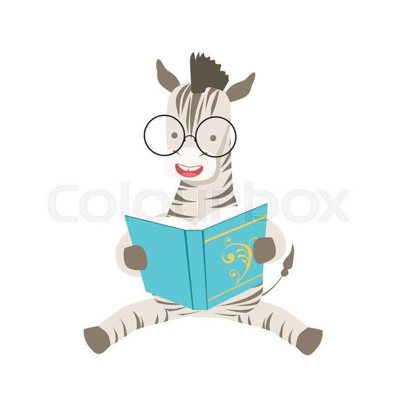 800x800 Zebra Smiling Bookworm Zoo Character Wearing Glassesnd Reading