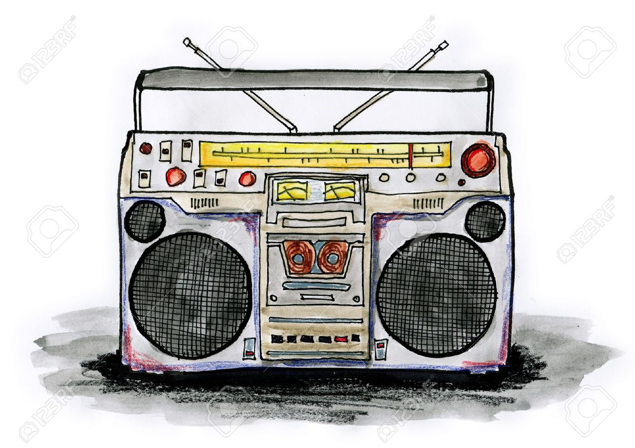 1300x917 Drawing Illustration Of Boombox On White Background Stock Photo