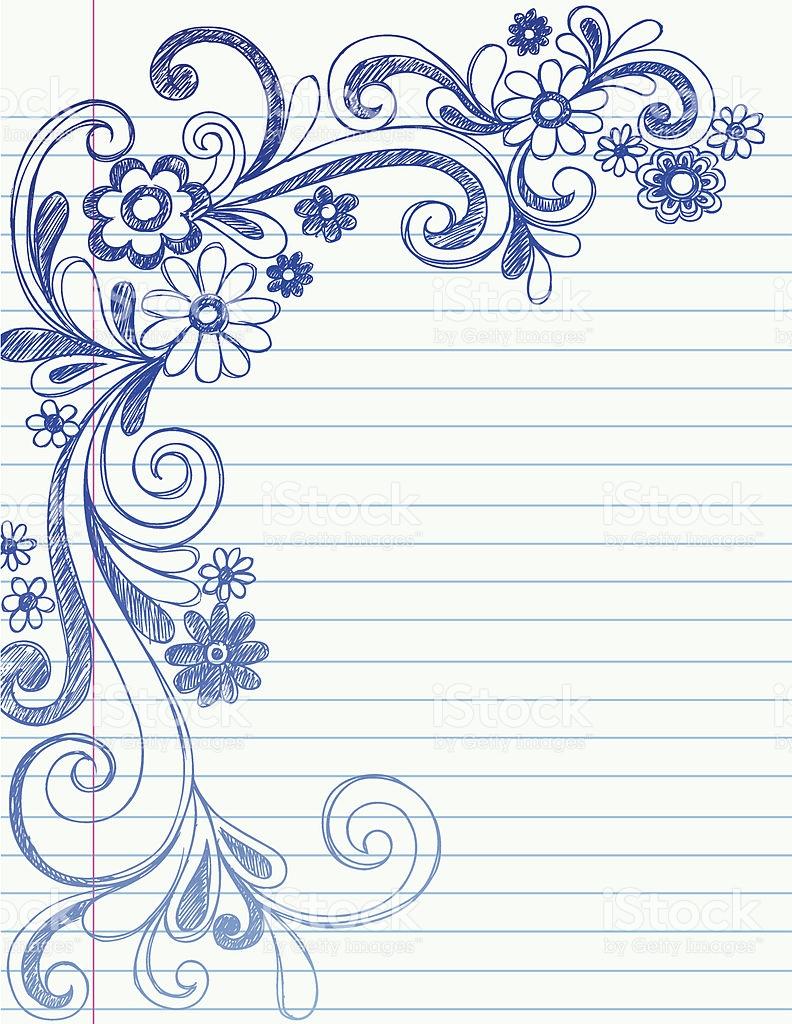 792x1024 Flower Border Drawing Drawn Design Flower Border