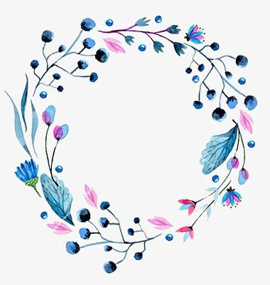 380x400 Blue Flowers Border, Leaf Border, Drawing Border, Creative Borders