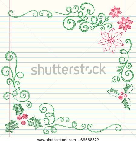 450x470 Hand Drawn Sketchy Doodle Christmas Holly Border By Blue67, Via
