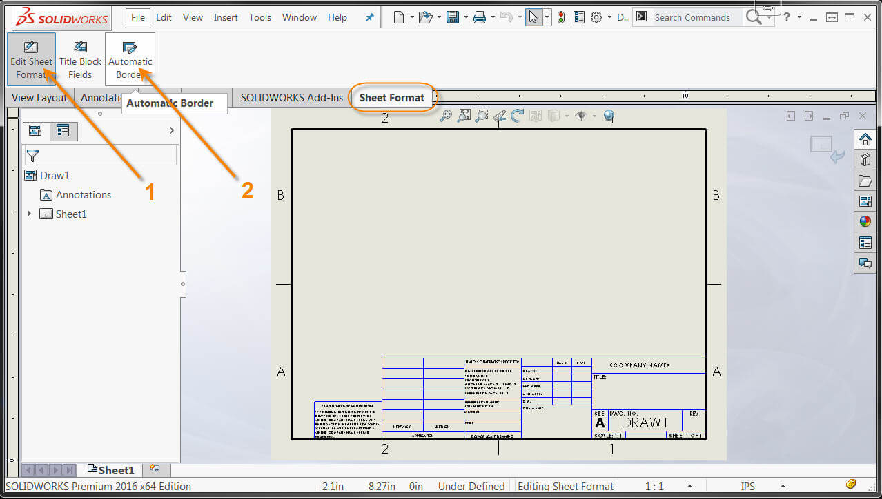 1278x724 Solidworks Automatic Drawing Border Makes Annotation Easier