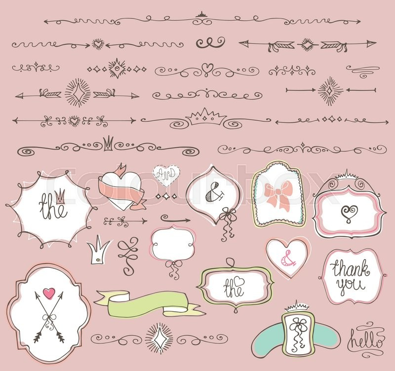 800x752 Colored Doodles Labels,badges, Arrow And Hearts, Crown,love Decor