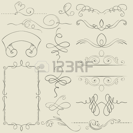 450x450 Simple Vector Frame With Swirls. Drawing Hands Royalty Free