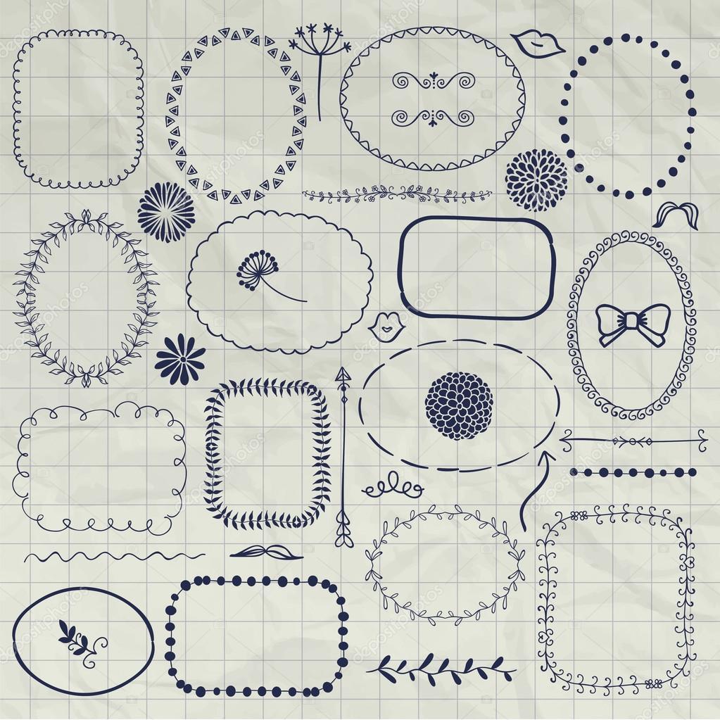 1023x1023 Vector Decorative Pen Drawing Borders, Frames, Elements Stock