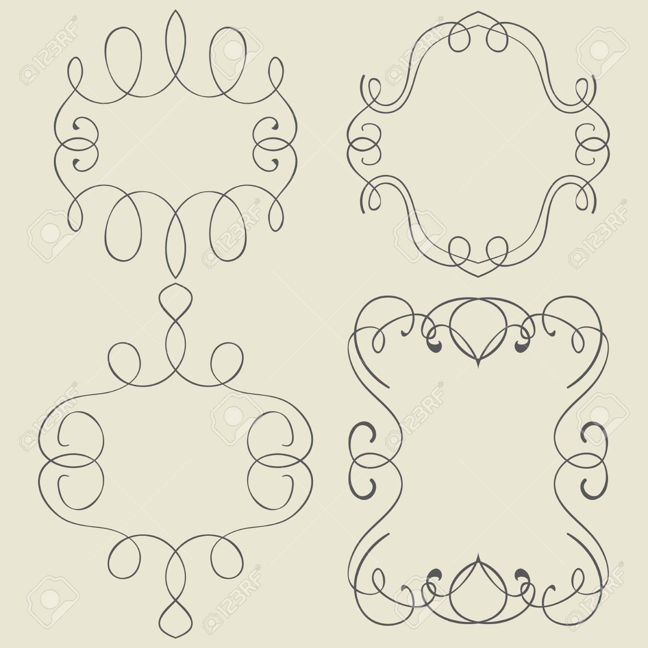 1300x1300 Vector Set. Frames And Borders. Hand Drawing Royalty Free Cliparts