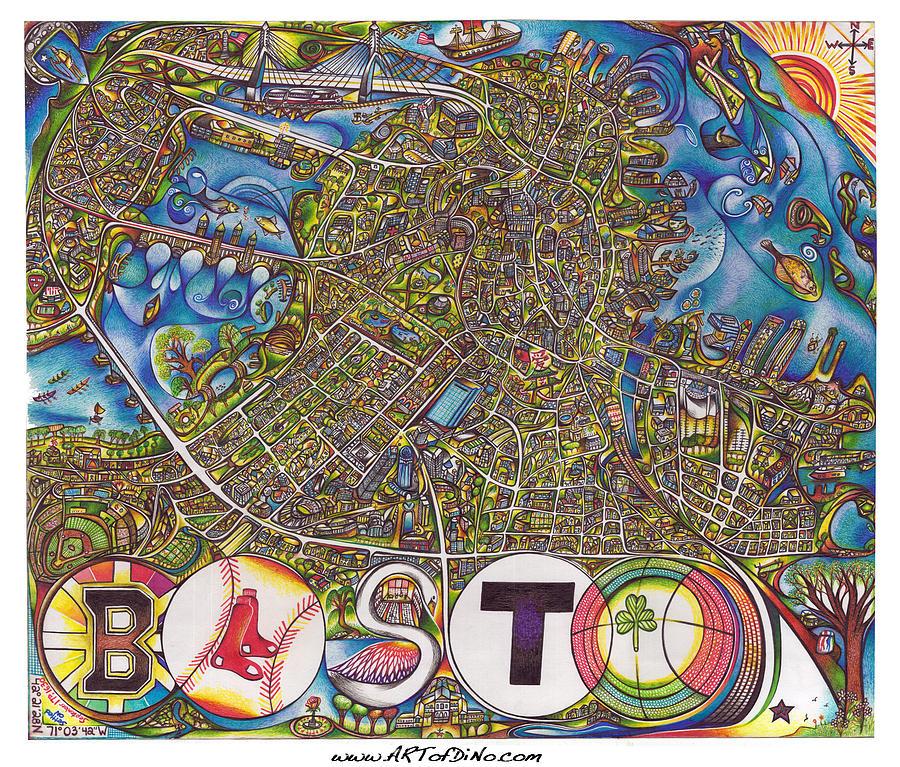 900x767 Boston Art Map Drawing By Jonathan