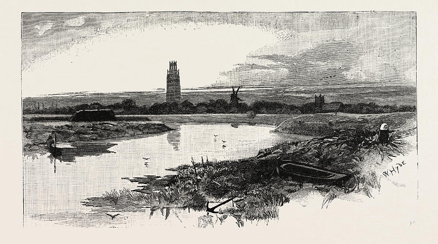 900x501 Distant View Of Boston Stump Drawing By English School