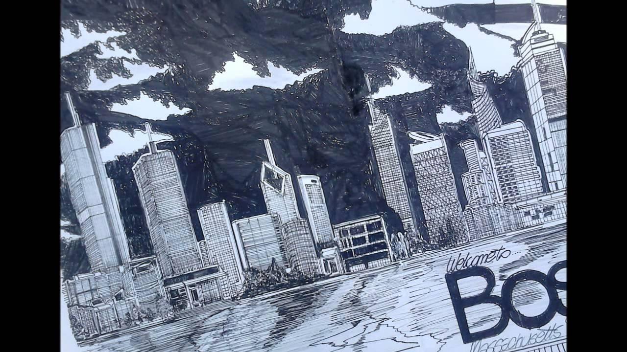 1280x720 Drawing Boston Skyline