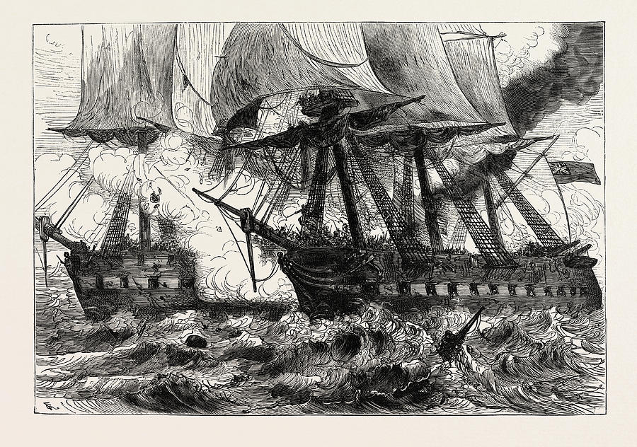 900x632 Fight Between The Chesapeake And The Shannon, Off Boston Drawing