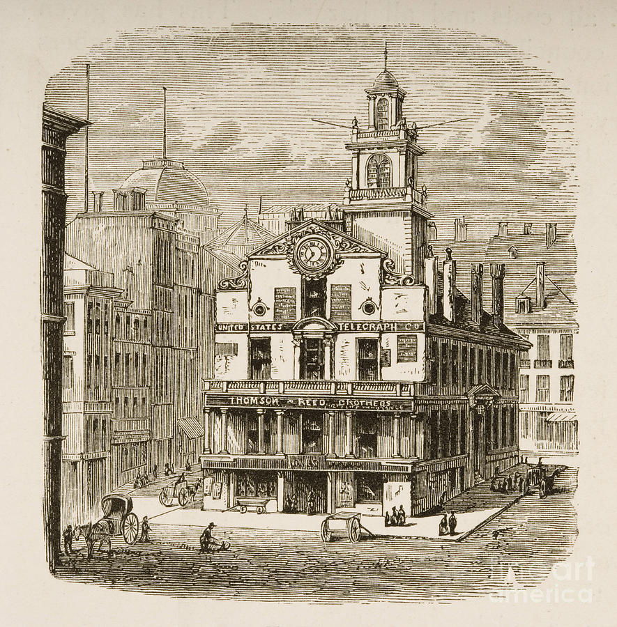 885x900 Old State House, Boston Drawing By English School