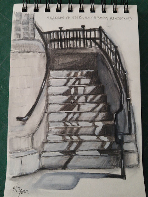 488x650 South Boston Bandstand Steps Drawing Sketch Drawing Sketches