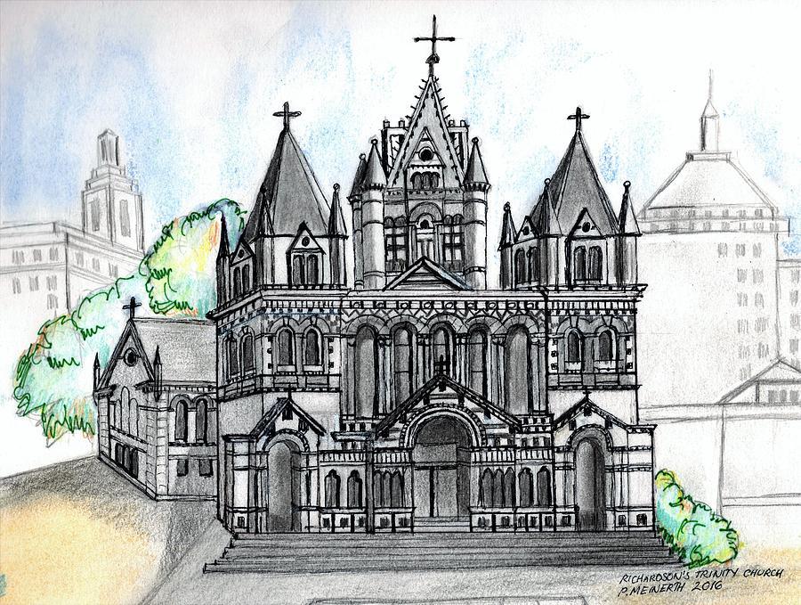 900x679 Trinity Church Boston Drawing By Paul Meinerth