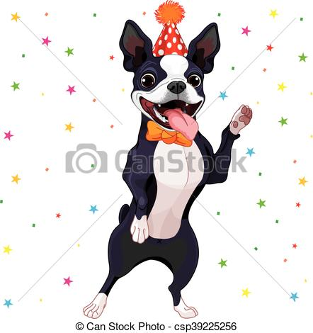 442x470 Boston Terrier Party. Illustration Of Cute Boston Terrier