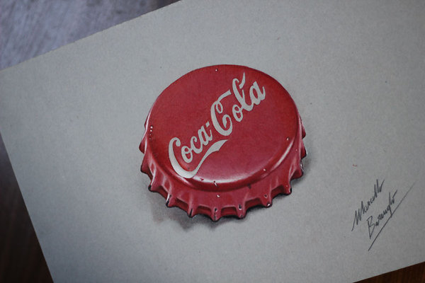 600x400 Cocacola Red Bottle Cap Drawing By Marcellobarenghi