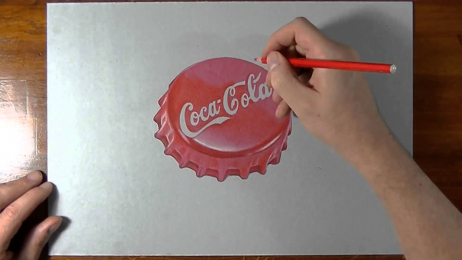 1920x1080 How To Draw How I Draw A Coca Cola Red Bottle Cap 3d Illusion.mp4