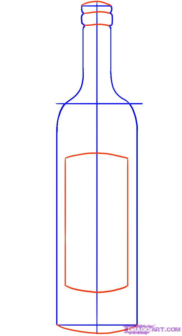 615x1134 How To Draw A Wine Bottle, Step By Step, Stuff, Pop Culture, Free