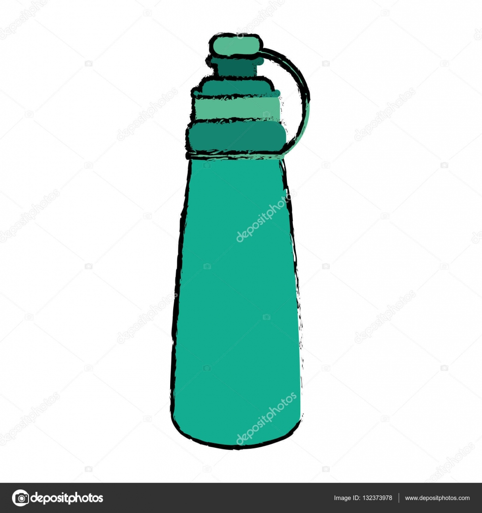 963x1024 Drawing Green Bottle Water Hydration Fitness Gym Stock Vector