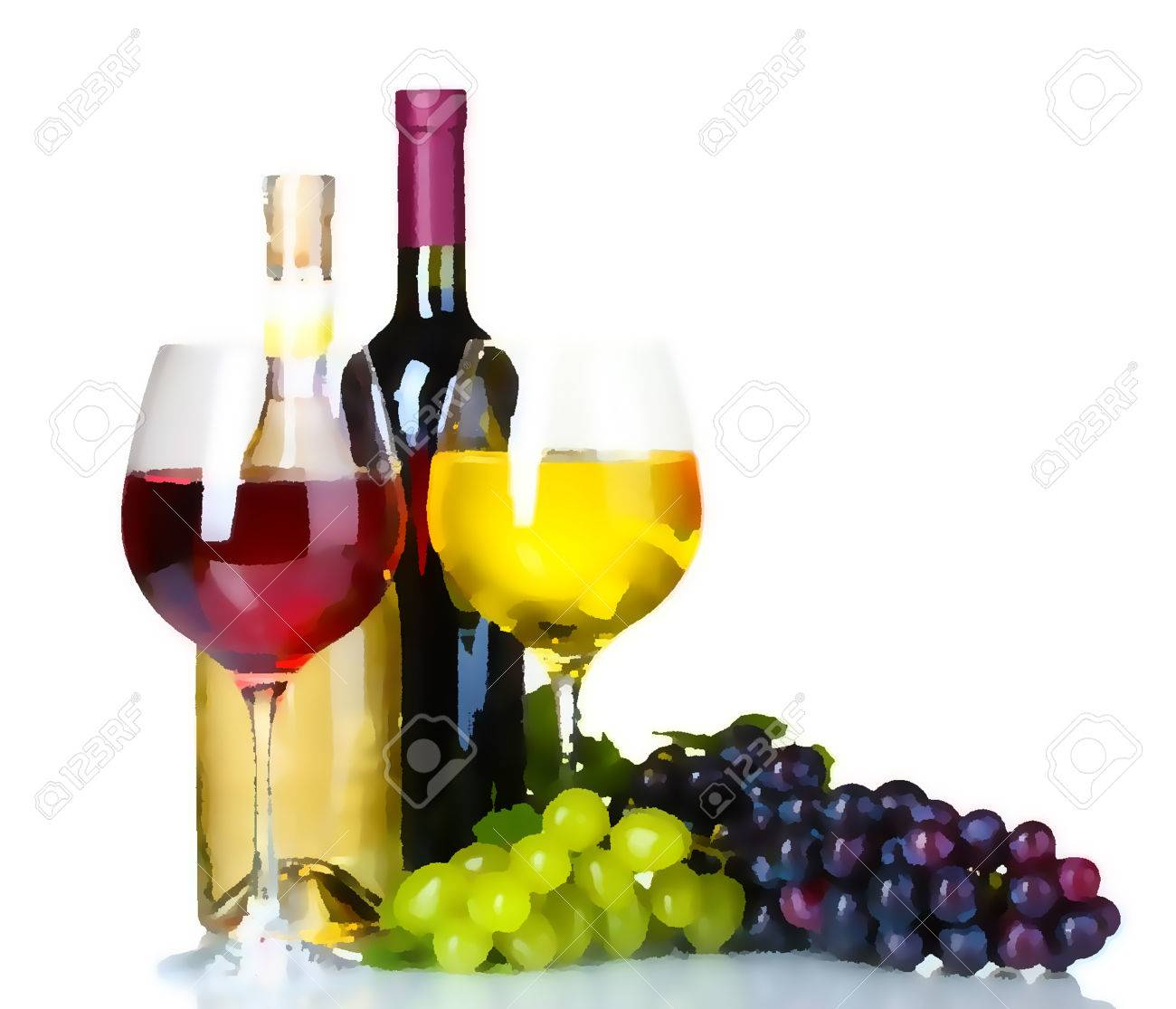 1300x1115 Hand Drawn Watercolor Illustration Of The Wine Bottle, Grape