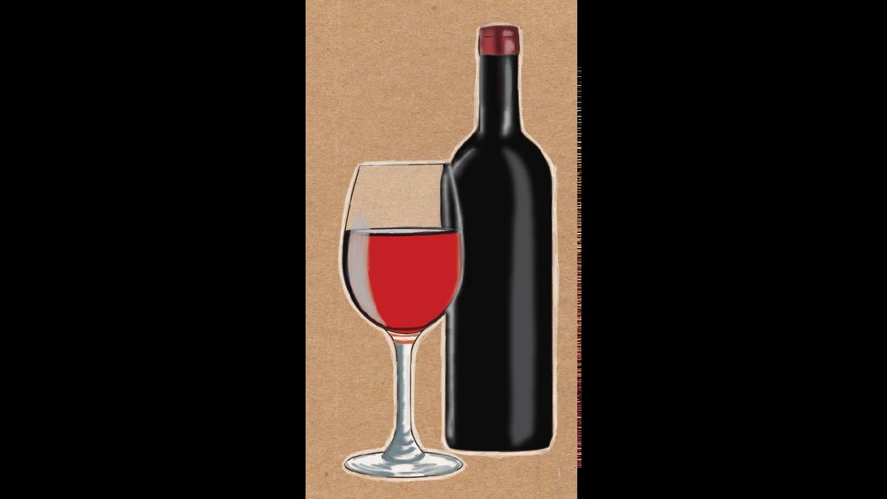 1280x720 How To Draw A Wine Bottle And Wine Glass