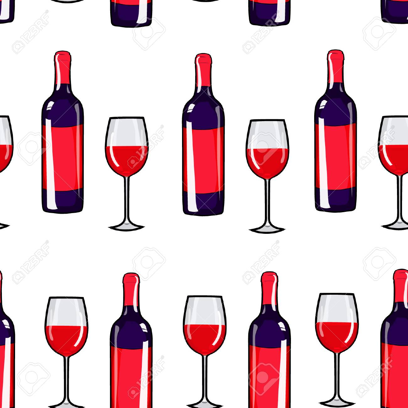 1300x1300 Seamless Pattern Glass Of Wine And Wine Bottle. Red Wine Print