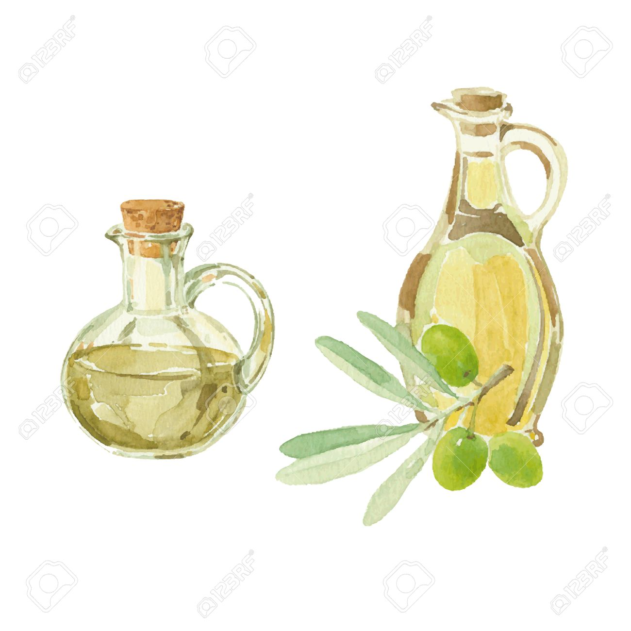 1300x1300 Olive Branch And A Bottles Of Olive Oil Drawing By Watercolor