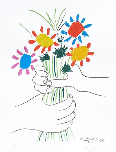 400x522 Bouquet Of Flowers Pablo Picasso Drawing