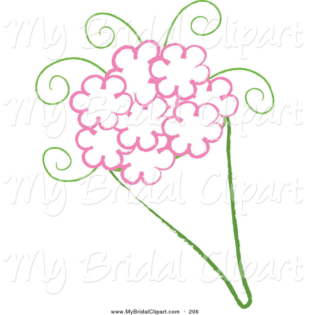 1024x1044 Bridal Clipart Of A Drawing Of A Wedding Bouquet With Pink Flowers