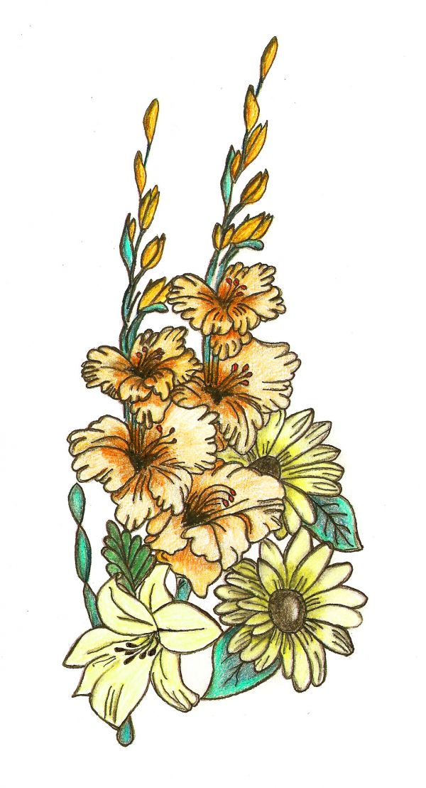 600x1108 Flowers For Gt Pictures Of Flowers To Draw With Color Flower Art