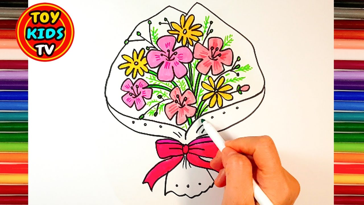 1280x720 How To Draw Flower Bouquet Learn Color Painting For Kids