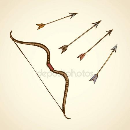 450x449 Bow Arrows. Vector Drawing Stock Vector Marinka